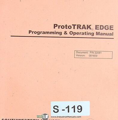 Southwestern Prototrak Edge Programming Operations Self Training Manual 2001
