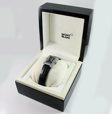 Montblanc Diamond Stainless Steel Black Leather Watch 7112 With Box QX