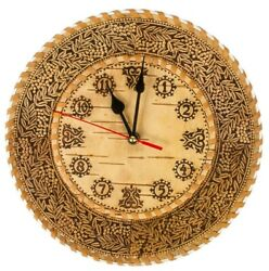 10 Hand-carved Wooden Wall Clock Birch Bark Beresta Made in Russia
