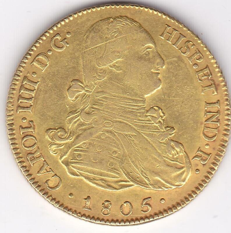 Bolivia Gold 8 Escudos 1805 PTS PJ Charles IV Spanish Colonial Bolivia Doubloon