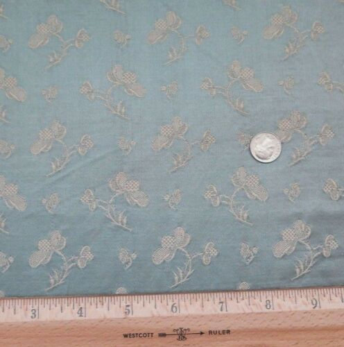Antique French 19thC Floral Patterned Blue Silk Brocade Fabric c1890~Dolls