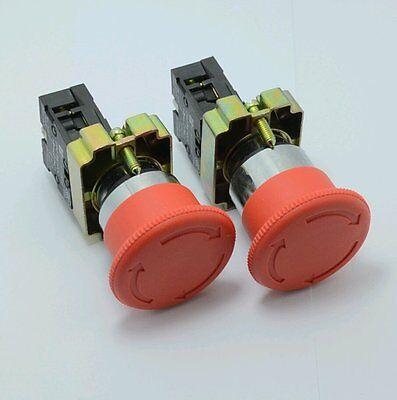 2pcs Xb-bs542 22mm Nc Red Mushroom Emergency Stop Push Button Switch 600v 10a