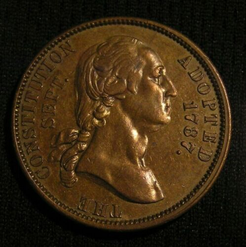 1887 GEORGE WASHINGTON - GROVER CLEVELAND CONSTITUTION MEDAL TOKEN - NOT HOLED!