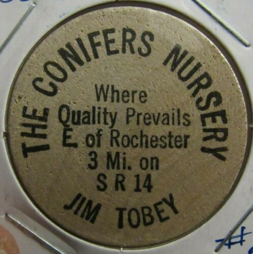 Vintage The Conifers Nursery Rochester, IN Wooden Nickel - Token Indiana #2