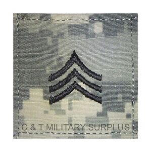 US Army ACU Rank E-5 Sergeant Velcro Uniform Patch New