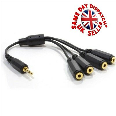 3.5mm TRS Plug to 4 Way socket Stereo Audio Headphone Splitter Adapter...