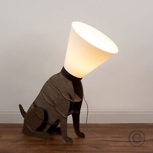 wood designer style dog on lead funky floor lamp light lighting ebay