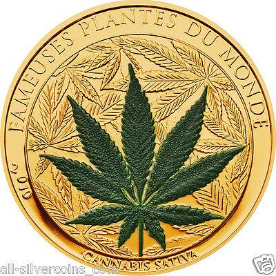 Cannabis Sativa Marihuana Scent 100 Francs Cu Ni Gold Plated  Coin Benin 2010