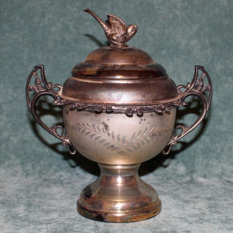 Antique Silver Plate Sugar Bowl  & Spoon Holder