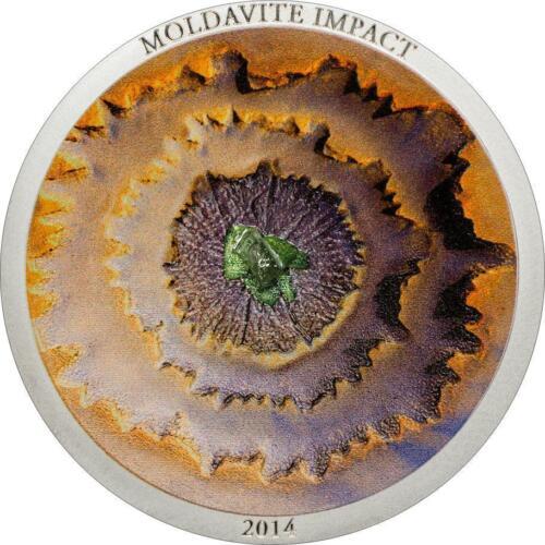 2014 $5 Cook Islands 1oz 999 Silver Coin - MOLDAVITE Meteorite with Box and COA