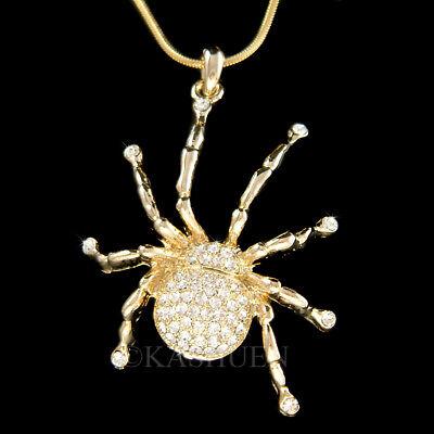 Black Widow Spinne Tarantula mit Swarovski Kristall Halloween Goldene Halskette (Black Widow Halskette)