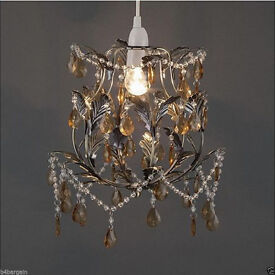 Knole Metal & Glass Effect Pendant Ceiling Light Shade Chandelier Antique Brass