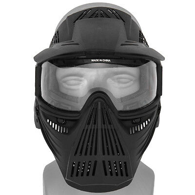 Halo Full Face Paintball Mask Airsoft Tactical Lens Gear Neck Guard No Fog SWAT