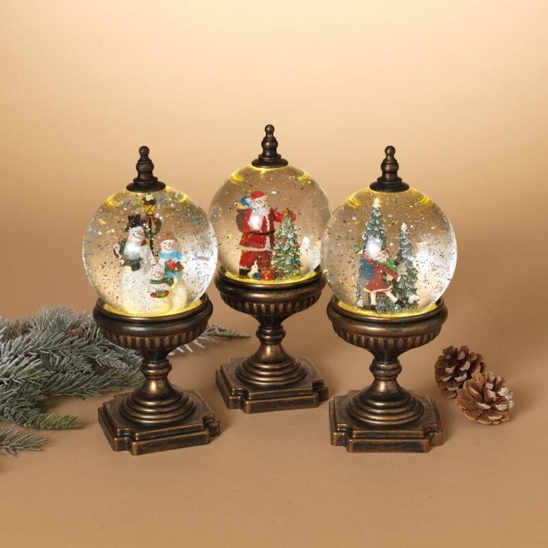 Large Bronze Christmas Winter Scene Spinning Glitter Water Snow Globe Lanterns