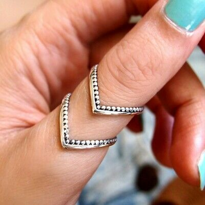 Chevron Sterling Silver Ring for Women Boho Thumb long Adjustable Size 6 7 8 9