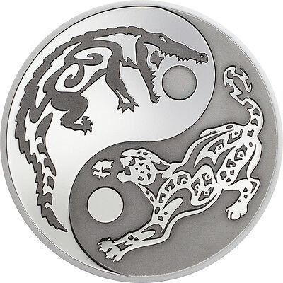 """2017 PREDATOR PREY .999 Silver Coin w/ Rhodium $5 """"CROCODILE vs JAGUAR"""" COA CIT"""