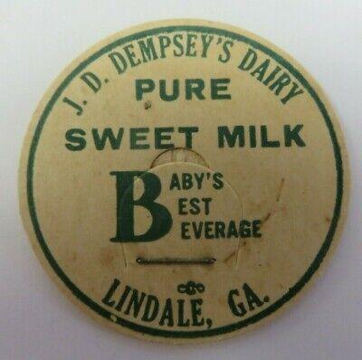 "Vtg Milk Bottle Cap 1 & 5/8"" J.D. DEMPSEY'S DAIRY Sweet Milk Lindale, Georgia"