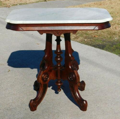 Walnut Victorian Marble Top Center Lamp Table circa 1875