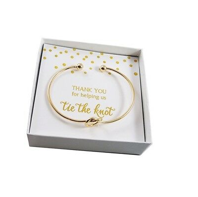 Thank You For Helping Us Tie The Knot Gold Bracelet Wedding Bridesmaid Gift Box - The Wedding Knot