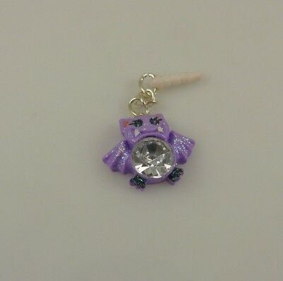 Halloween Purple Glitter Bat Bling Cell Phone Charm Ear Cap Dust Caps Purse  - $4.50