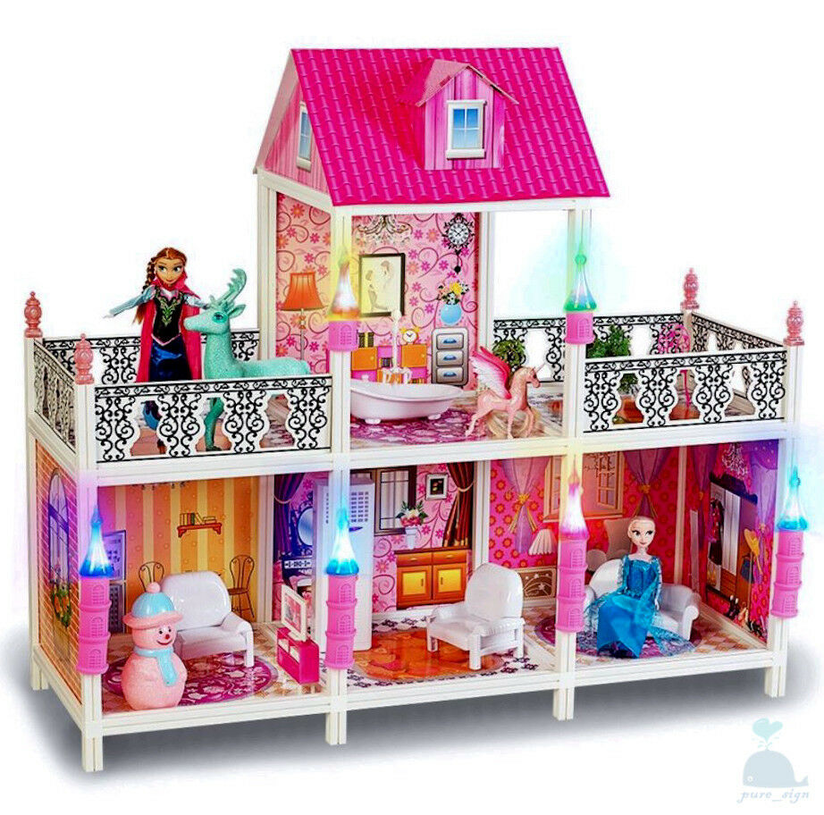 My Little Princess' Mansion Dolls House Furniture & Frozen Sisters & Extra Dolls