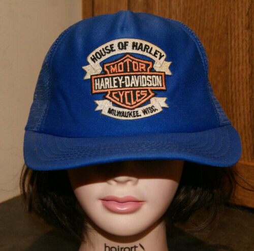Vtg HARLEY DAVIDSON MOTOR CYCLES Trucker Hat Cap USA Made House Harley Milwaukee