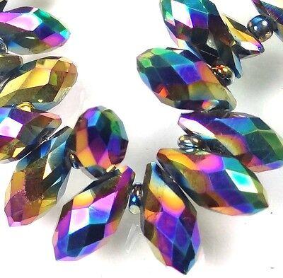 25 Czech Glass Faceted Teardrop Beads - Metallic rainbow 12x6mm
