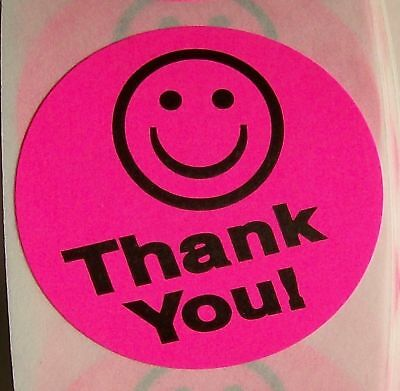 250 THANK YOU SMILEY LABEL STICKER PINK - Thank You Smiley