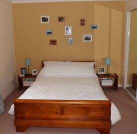 Double sleigh bed and mattress