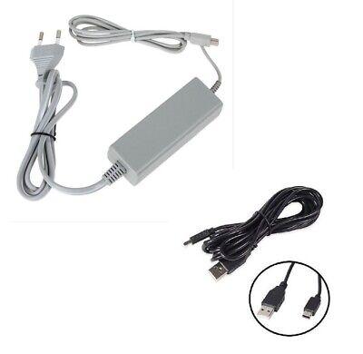 Cargador Alimentación de Ca Para Nintendo Wii U (Gamepad) + Cargador USB