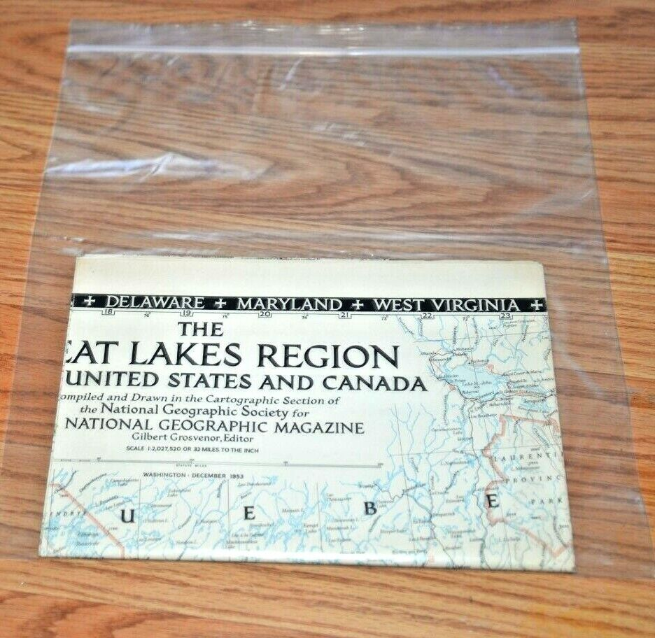 CatalinaStamps Map  Great Lakes Region of US  Canada 1953 A Hoen  Co F