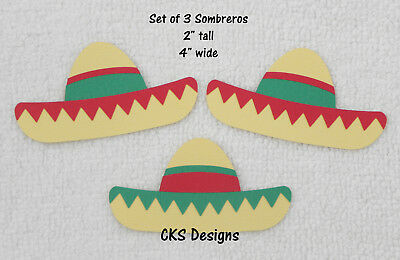 56a7d67c1 Die Cut Set of 3 Sombreros Fiesta Scrapbook Page Embellishment Paper  Piecing - Paper Sombrero