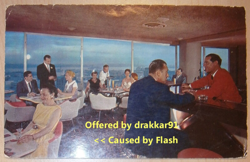 VINTAGE Postcard - El Cortez Hotel - Starlite Roof, San Diego CA - 50's or 60's