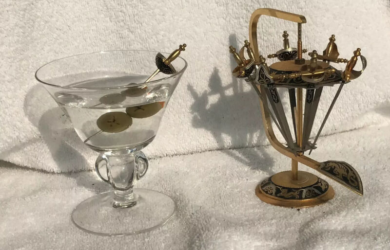 BUNDLE - 2Martini Glasses & 8 Toledo Sword Cocktail Skewers in brass stand