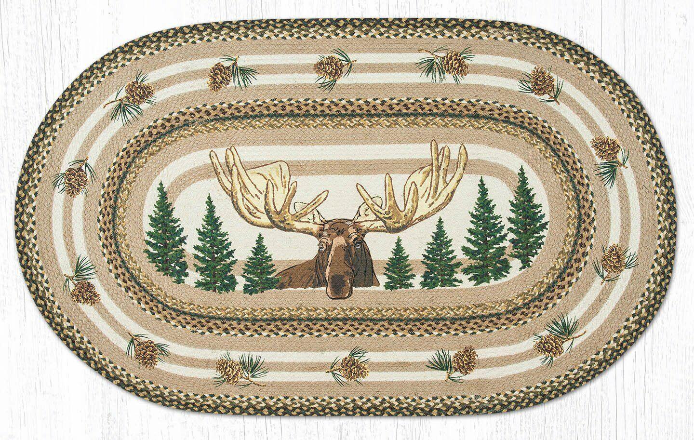 Cabin Lodge Braided Oval Earth Jute Rug Bull Moose Cabin Lod