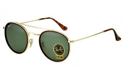 Ray-Ban RB3647N Round Double Bridge 001 Gold Frame/Green Classic G-15 Lenses