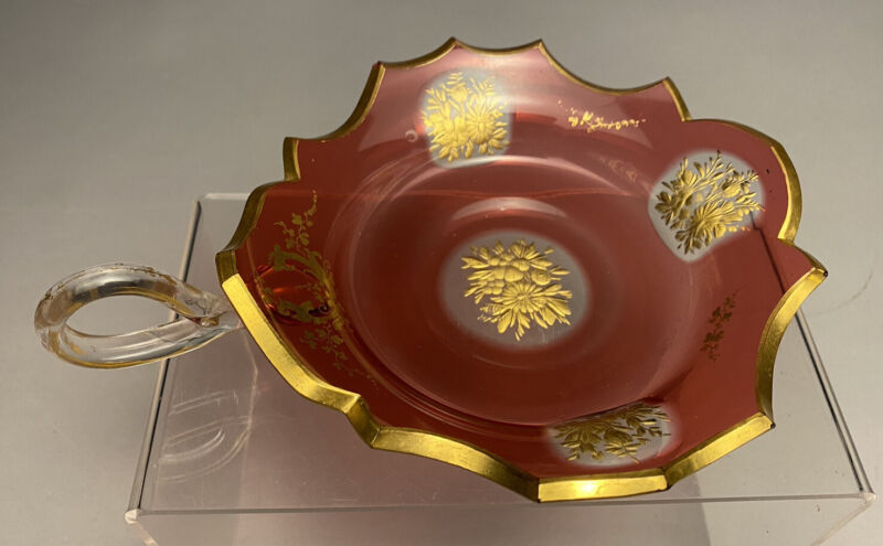 Rare Ruby Cut To Clear Gold Gilt Glass Mid 19c. Bohemian Nappy Bowl