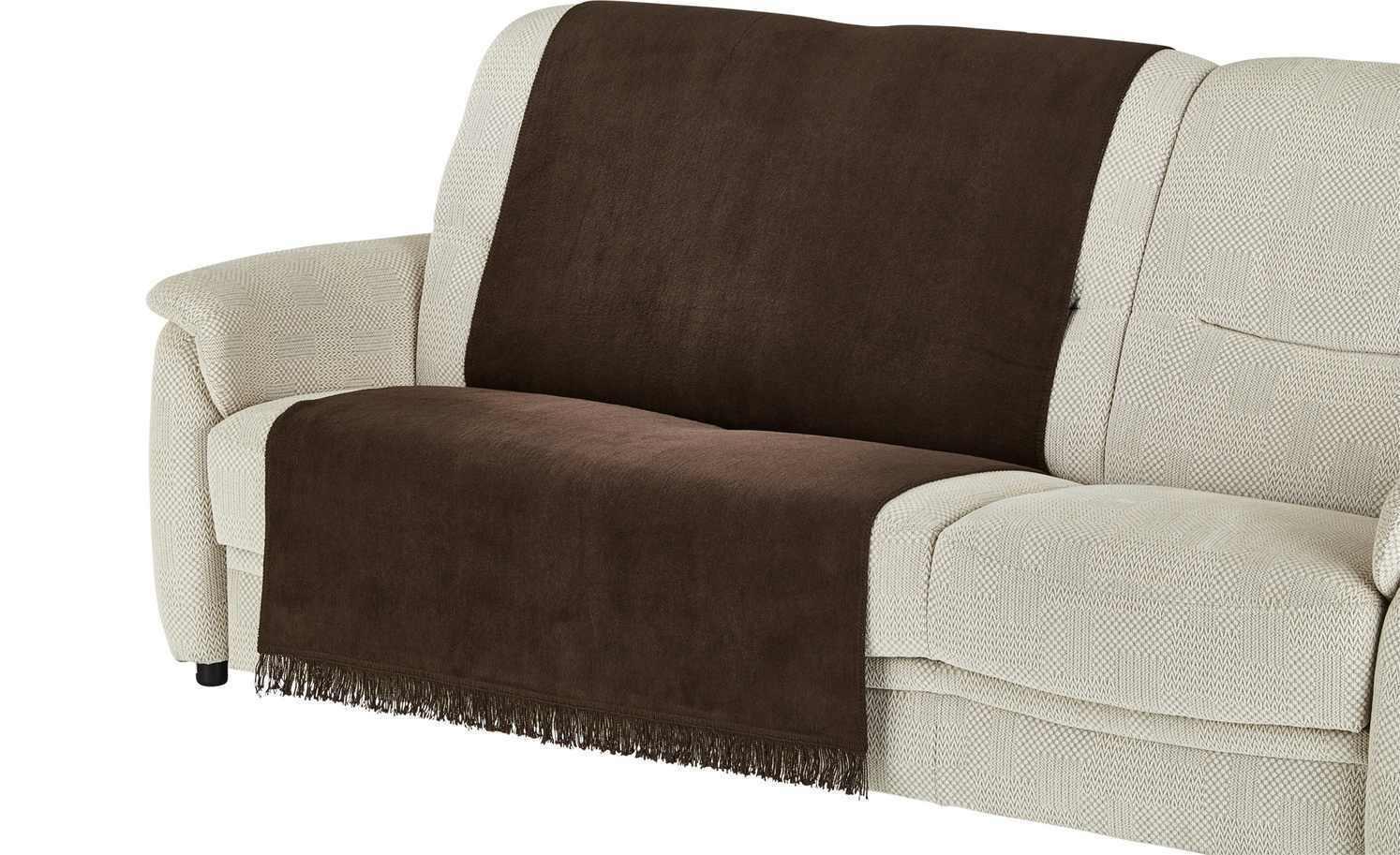 Sofaläufer Schoner Braun Baumwollmischung 200x100 cm Overlock Stitching LAVIDA