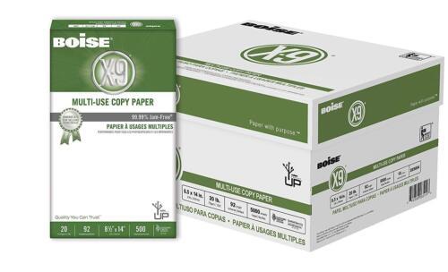 Boise X-9 Multi-Use Copy Paper, Legal Size Paper, 20 Lb, Bright White, 10 ream