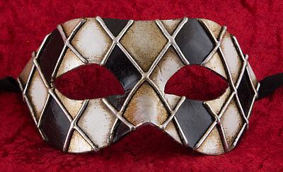 Mask Venice Colombine Checkerboard Silver Paper Chewed- 2263 -v39b