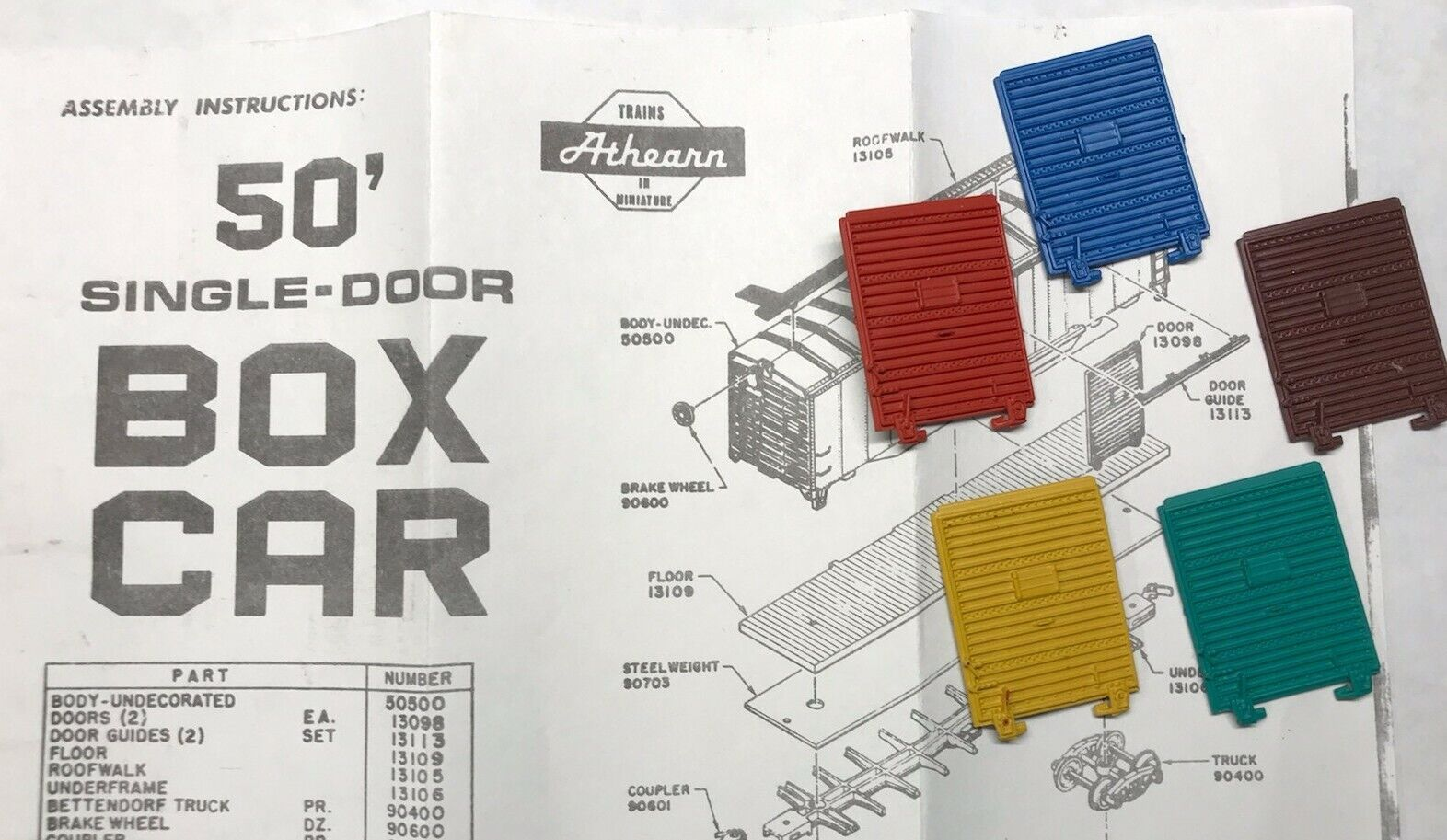 Car Parts - Athearn HO 50' Box Car Parts - Part #13098 - 1 Pair of Doors - CHOOSE COLOR! NEW