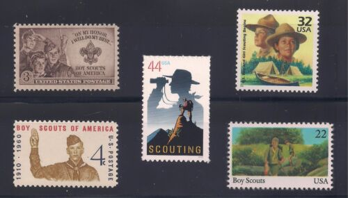 BOY SCOUTS - COMPLETE SET OF 5 U.S. POSTAGE STAMPS  - MINT CONDITION