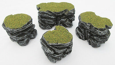 Warhammer 40k Tabletop War Gaming Terrain Sceney Grey Stone Plateau & Rocks SetB