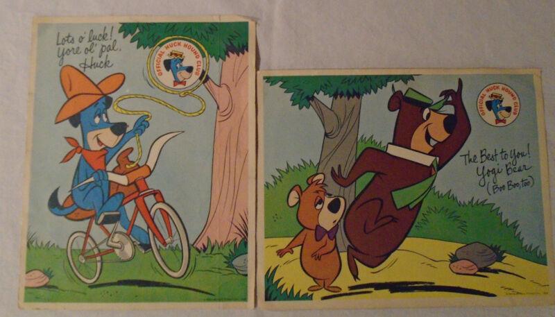 Huckleberry Hound Yogi Bear Boo Boo Fan Club 1960 Hanna Barbera 2 pinup cartoons