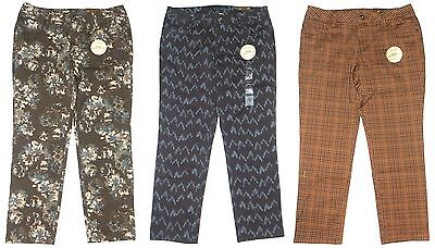 Sonoma Modern Fit Cropped Slim Ankle Pants Blue Or Brown Print Womens $40