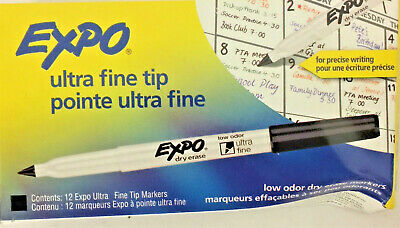 12 Pack Expo Low-odor Dry-erase Marker Extra-fine Needle Tip Black 1871131