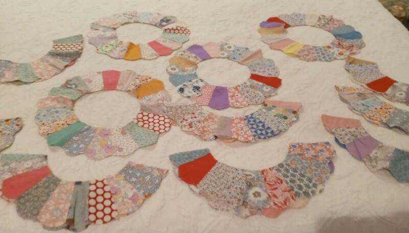13 Vintage Dresden Plate Quilt Blocks  w/Feedsack Material  Hand Stitched