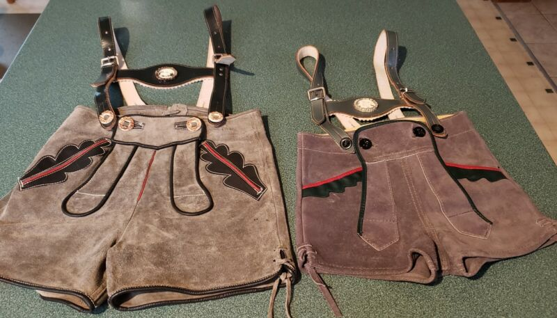 2 Vintage Childs Size Leather Suede German Lederhosen - Great Condition