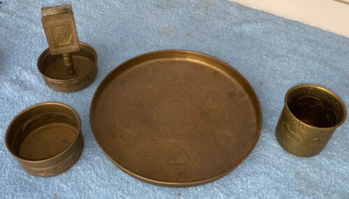 "Antique Dog Themed Tray Cigar Ashtray Match Holder Set Unique Brass 9"" Estate"