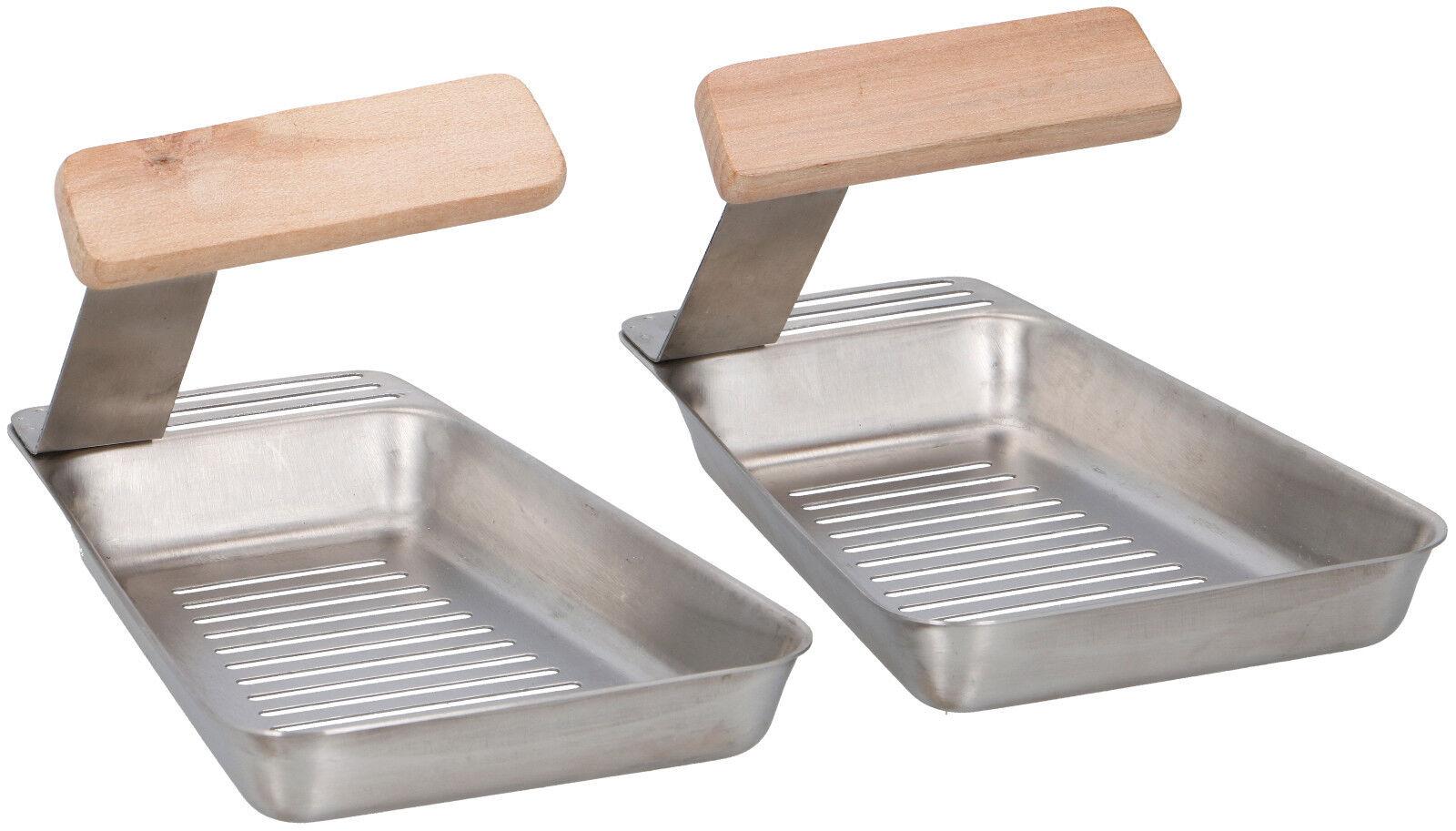 2 x Grillpfanne Edelstahl Grillschale Grillpfännchen BBQ Grill Schale Zubehör